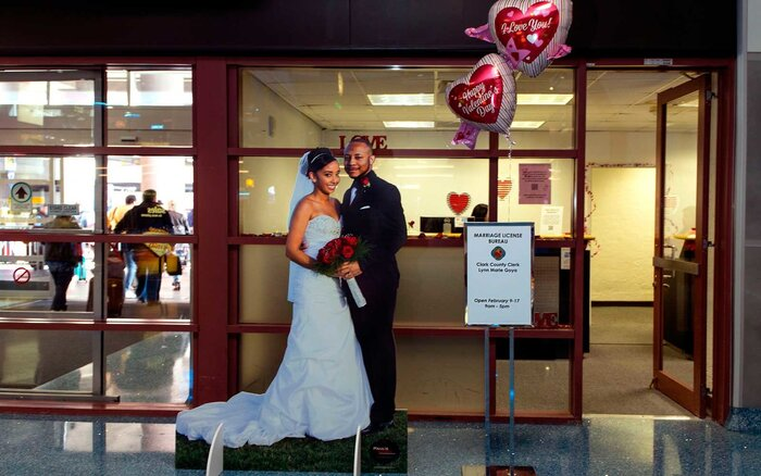 The Clark County Clerk S Office Operates A Temporary Pop Up Marriage License At Mccarran