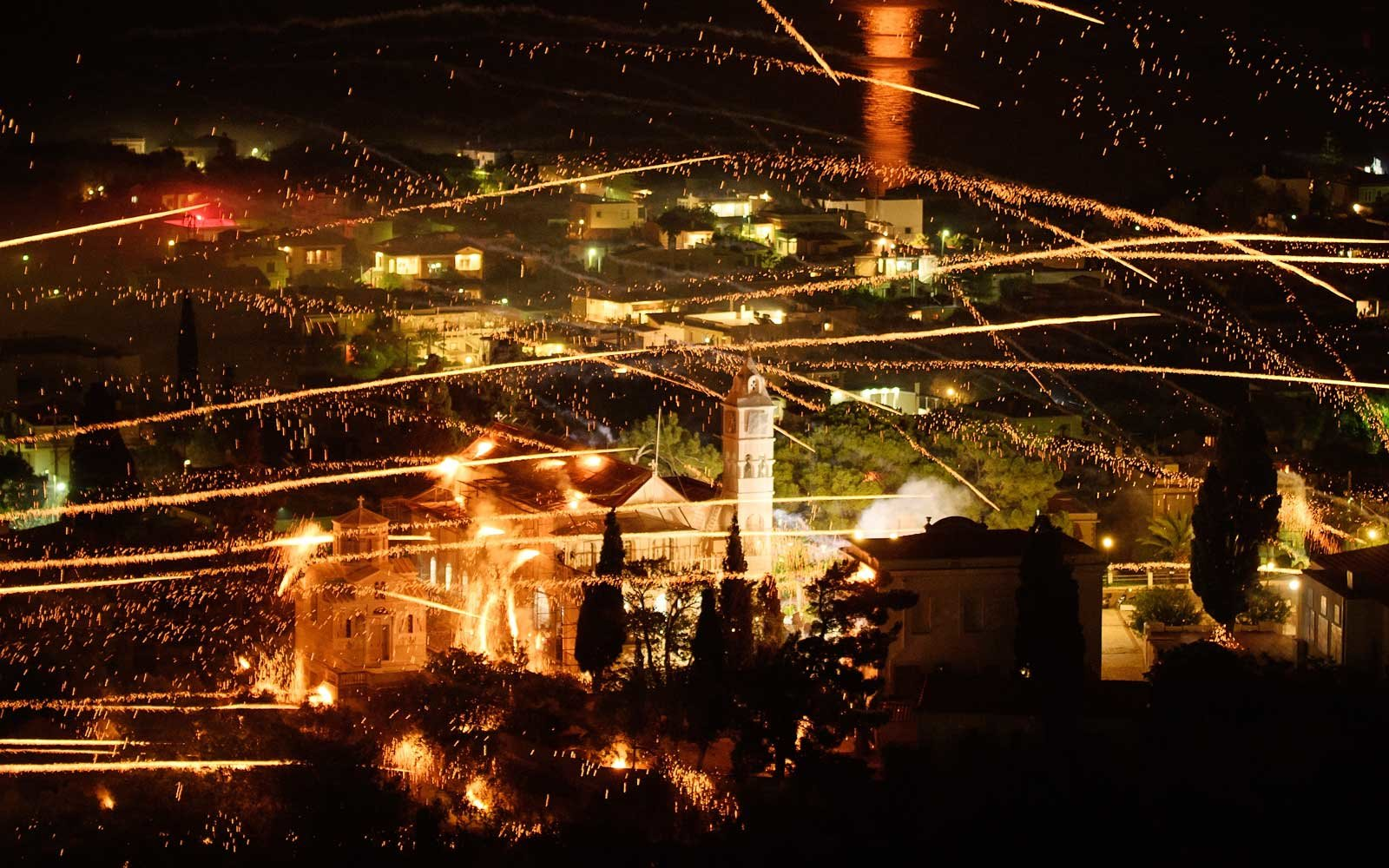 Rival Churches Celebrate Easter With Annual Firework Rocket War in Chios, Greece