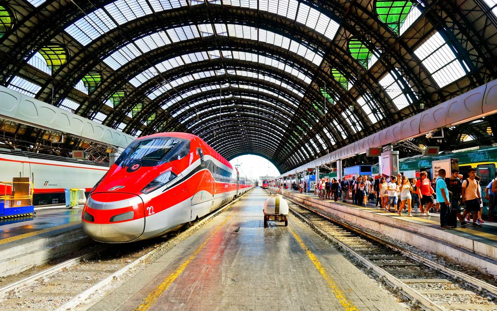 High-speed train at Milano Centrale railway station in Milan, Italy