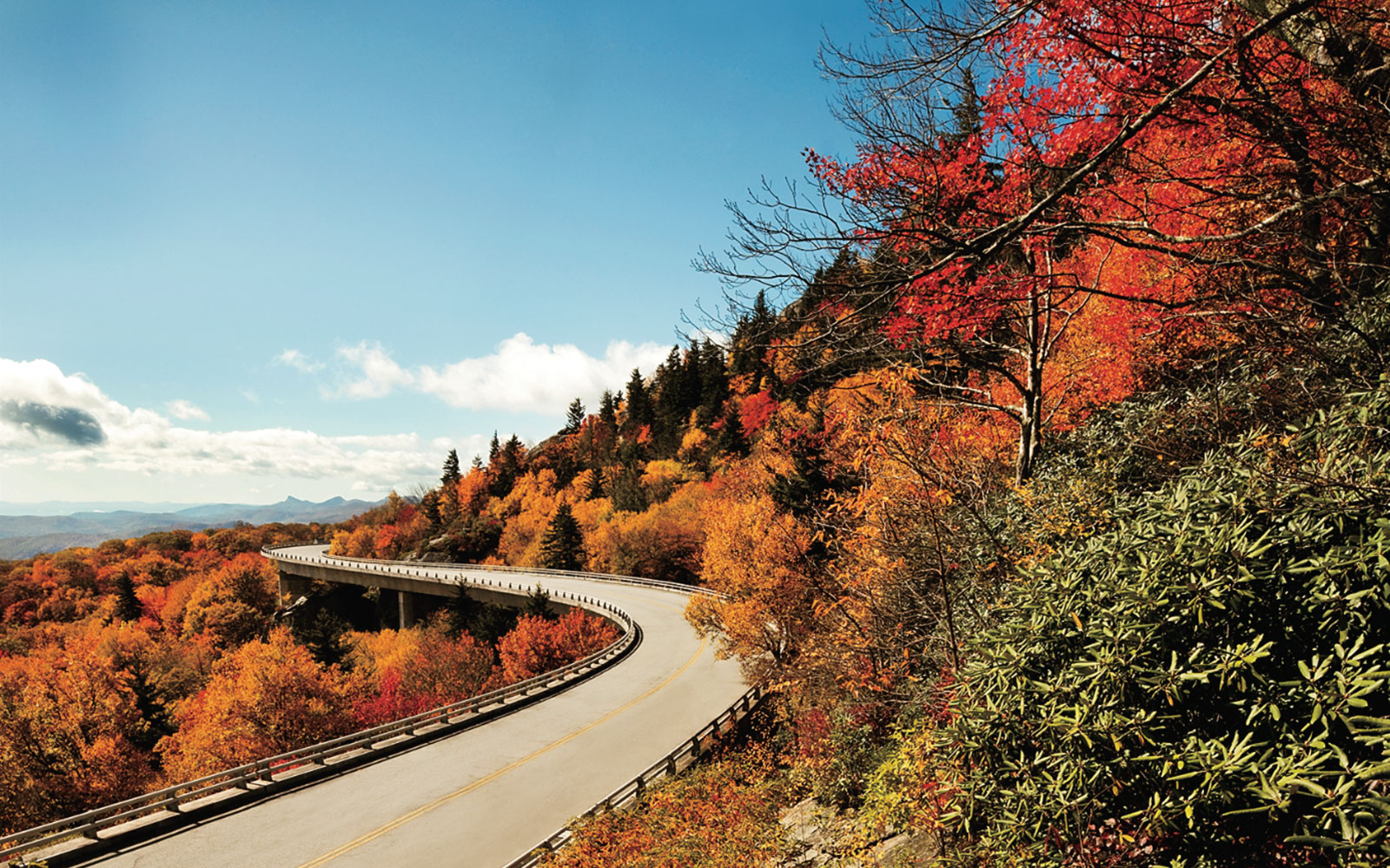 scenic mountain roads in fall along Blue Ridge Parkway, VA & NC