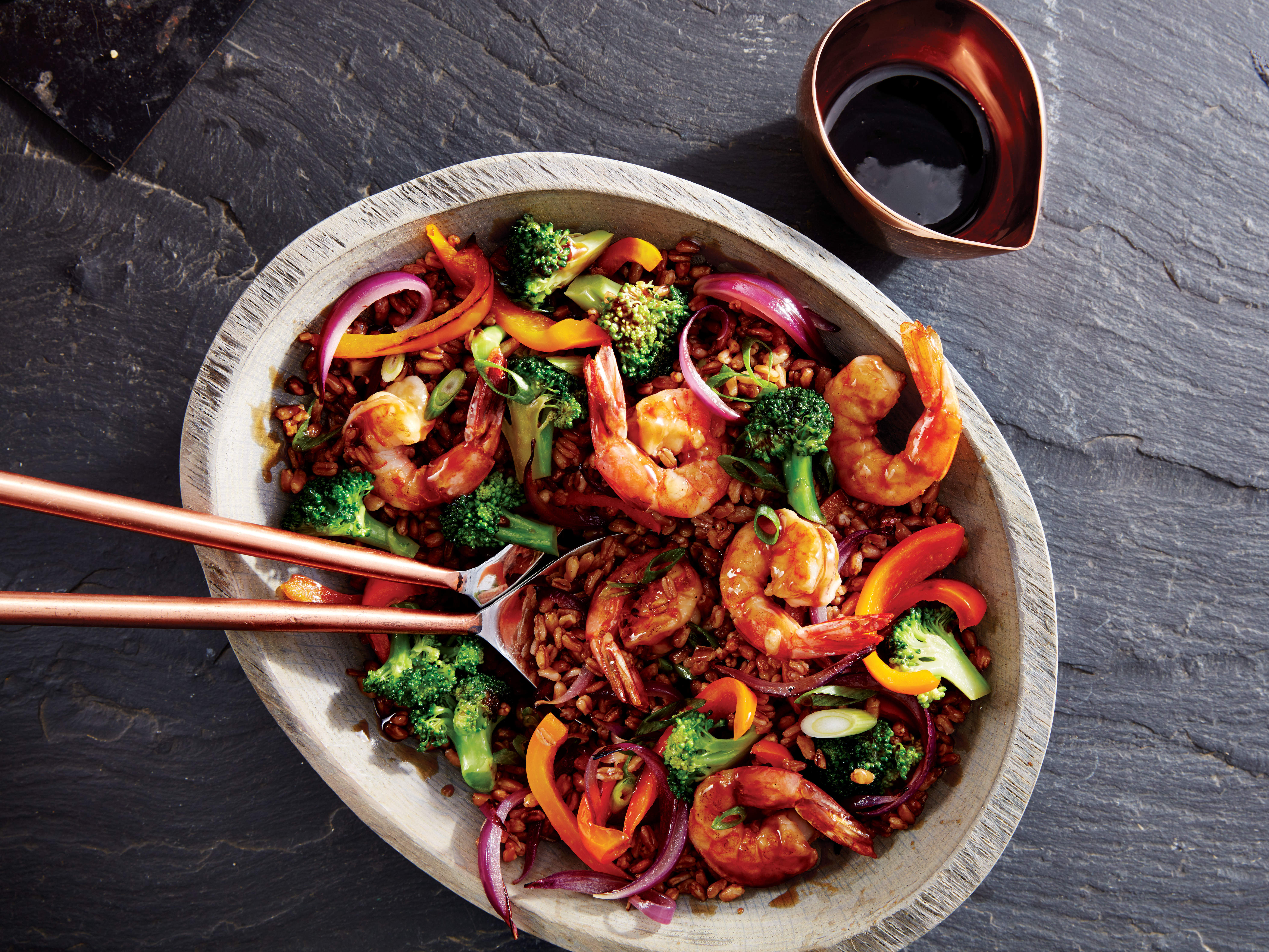 crispy-farro-shrimp-stir-fry-bowl-recipe