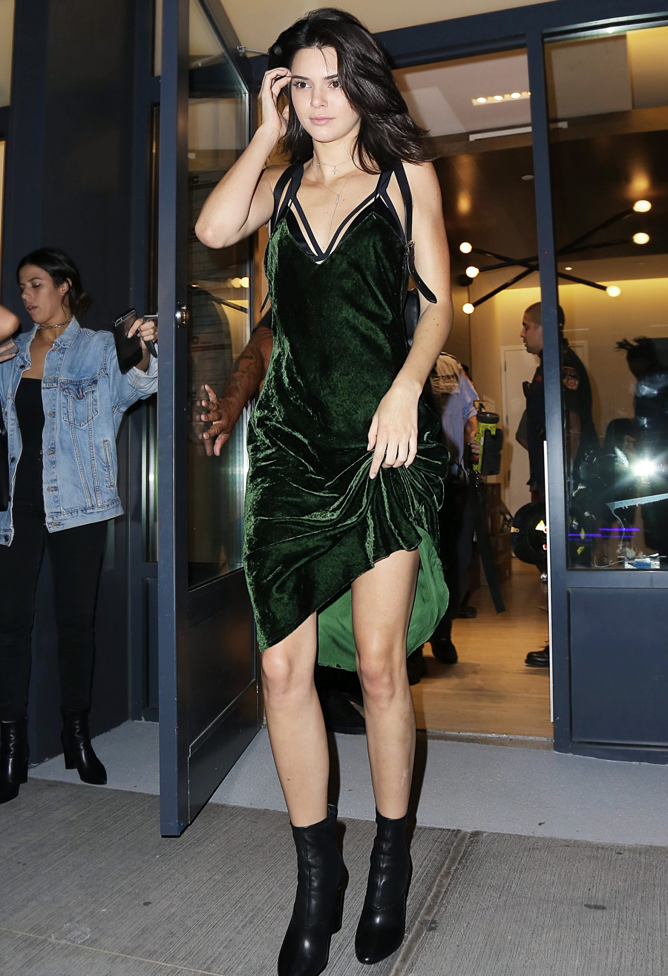 Kendall Jenner wearing Nili Lotan green velvet dress