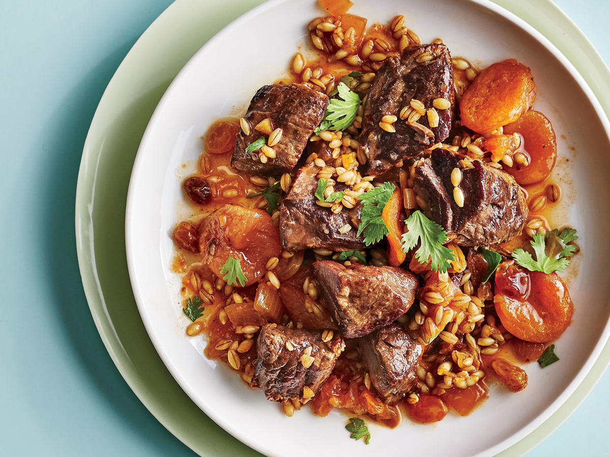 Lamb, Barley, and Apricot Tagine