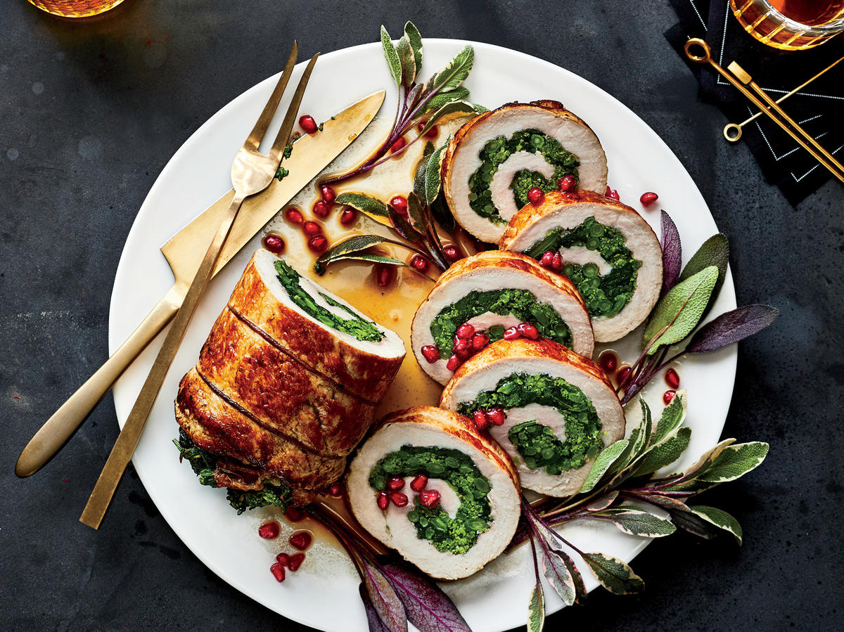 Roasted Pork Loin Stuffed with Prosciutto and Broccoli Rabe