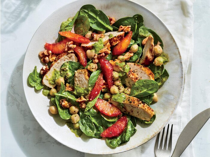 A month of healthy lunch recipes cooking light chickpea spinach salad sisterspd