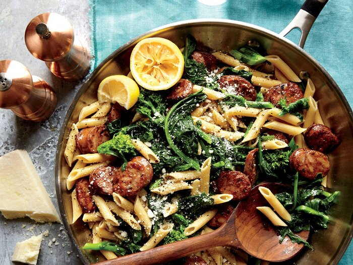 A month of healthy dinner recipes cooking light chicken sausage and broccoli rabe penne forumfinder Images