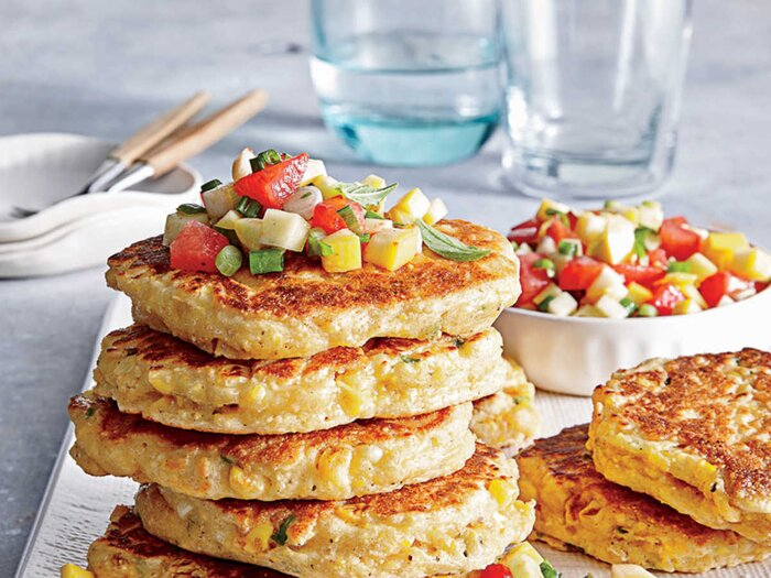 Quick and easy summer recipes cooking light fresh corn cakes with summer salsa forumfinder Images