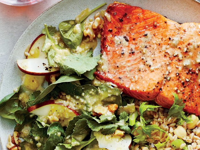 Recipes for brain health cooking light pan seared salmon with pear and walnut spinach salad forumfinder