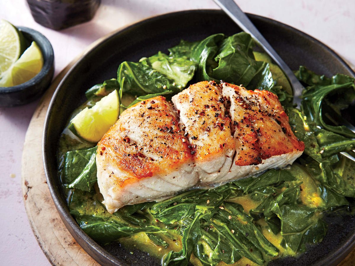 sautéed snapper with curried greens recipe - cooking light