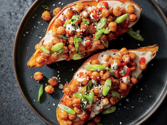 Easy and healthy sweet potato recipes cooking light sesame ginger chickpea stuffed sweet potatoes forumfinder Gallery