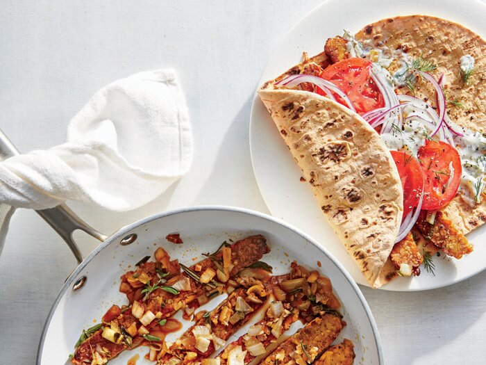 Protein packed vegetarian recipes cooking light tempeh gyros with tzatziki forumfinder Images