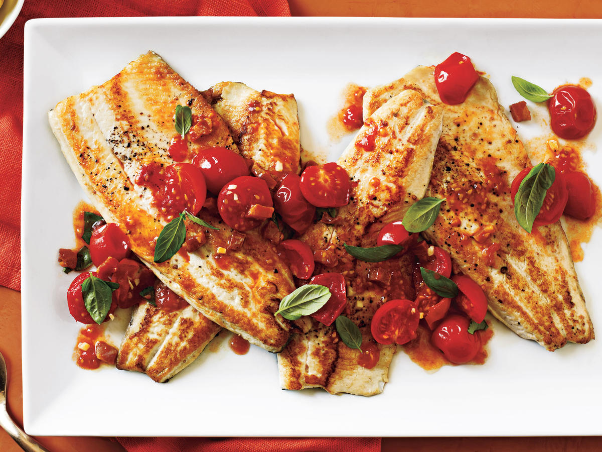Pan-Fried Trout with Tomato Basil Sauté