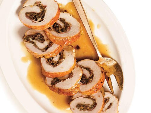 Diabetic christmas recipes cooking light braised turkey roulade with pancetta shallots and porcini gravy recipe forumfinder Images