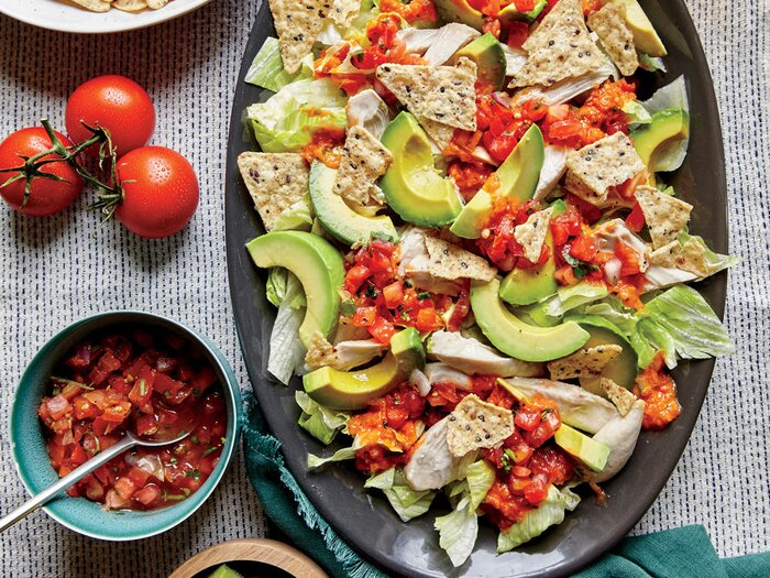 10 no cook summer meals cooking light shredded chicken and avocado nacho salad forumfinder Choice Image