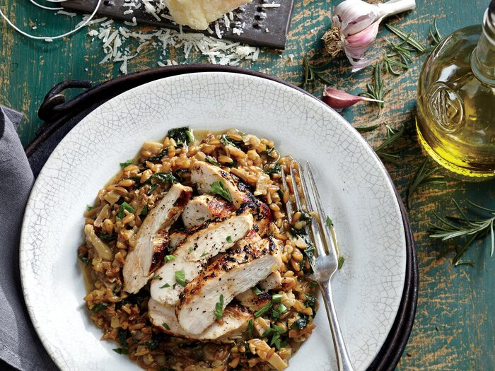 Grilled rosemary chicken with farro risotto recipe cooking light grilled rosemary chicken with farro risotto recipe forumfinder Gallery