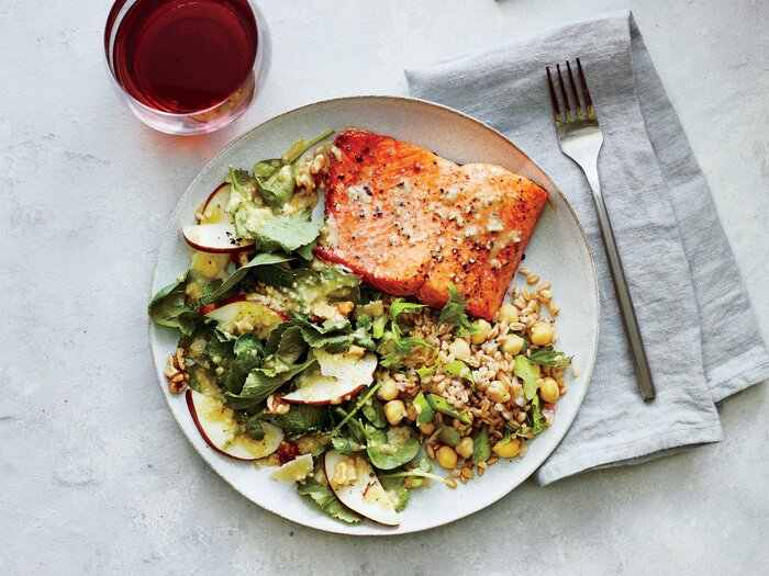 Pan Seared Salmon With Pear And Walnut Spinach Salad
