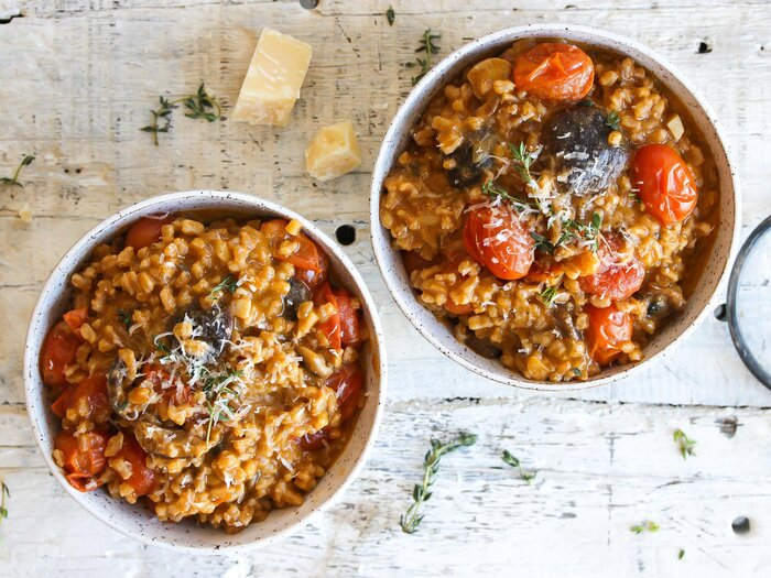 10 fancy foods worth trying to make at home cooking light creamy tomato and mushroom farrotto forumfinder Choice Image