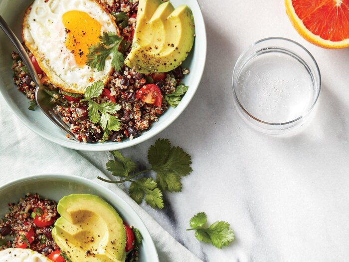 Quinoa bowls with avocado and egg recipe cooking light quinoa bowls with avocado and egg forumfinder Images