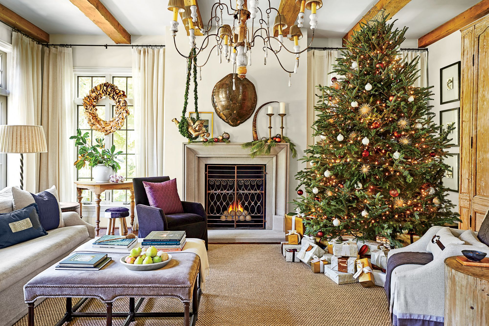 Dana Wolter purple Family Room decorated for Christmas