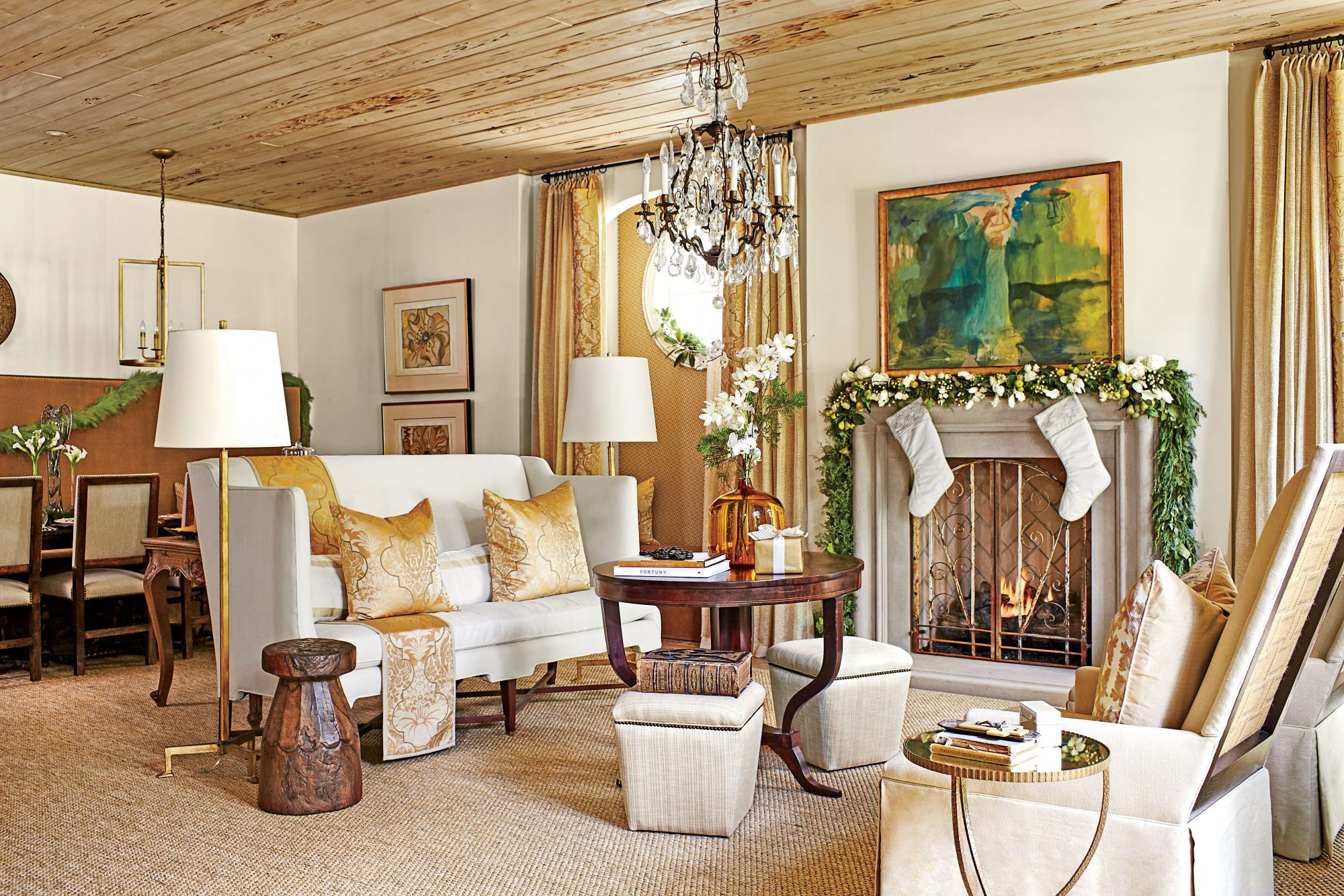 Christmas decorations and gold accents in Dana Wolter Living and Dining Room