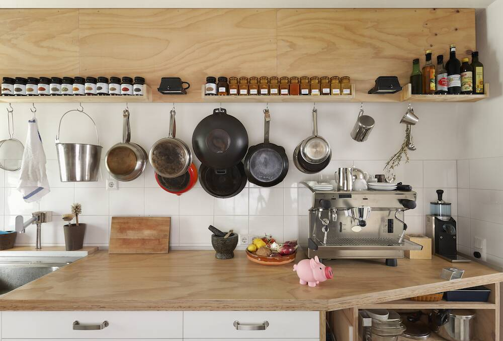 Counter E And Cooking Utensils In Modern Kitchen