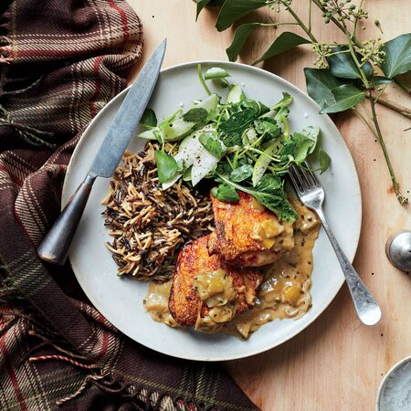Braised Chicken Thighs With Apples And Wild Rice Recipe Erick