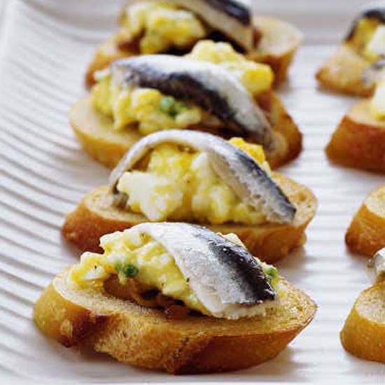 Egg Salad Crostini with White Anchovies