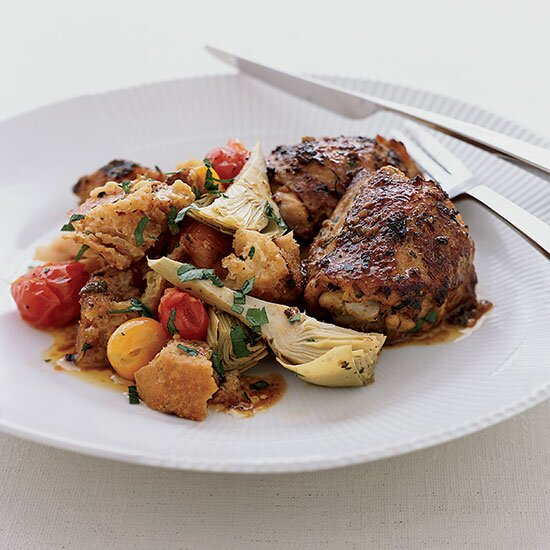 Chicken chef recipes made easy food wine tangy roasted chicken thighs with artichoke panzanella forumfinder Image collections