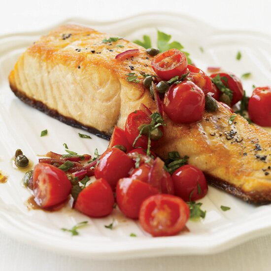 Best fast recipes ever food wine pan roasted salmon with tomato vinaigrette forumfinder Image collections