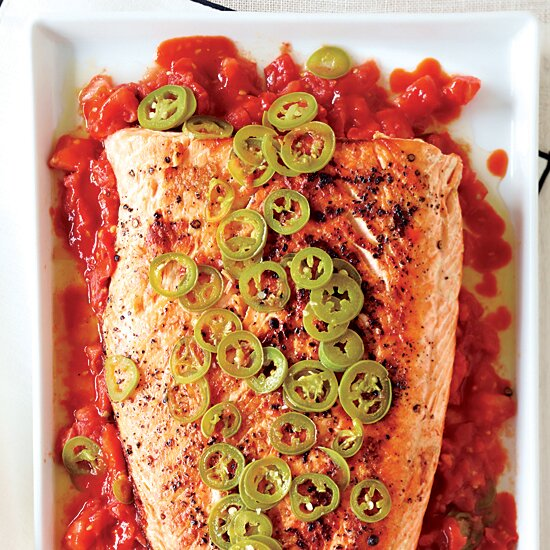 Fast dinner recipes food wine grilled salmon with melted tomatoes forumfinder Gallery