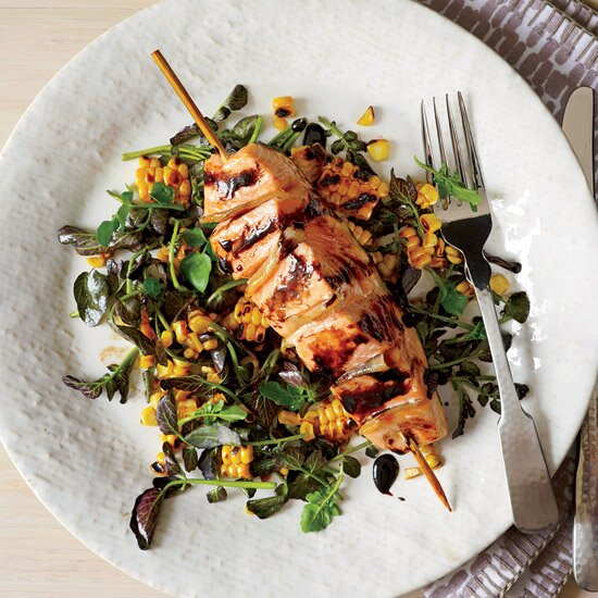 Healthy fast weeknight dinners food wine gingered salmon with grilled corn and watercress salad forumfinder Gallery