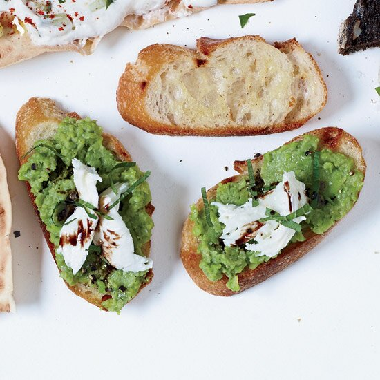 12 recipes for the ultimate spring dinner party food wine bruschetta with mozzarella and smashed fresh favas forumfinder Choice Image
