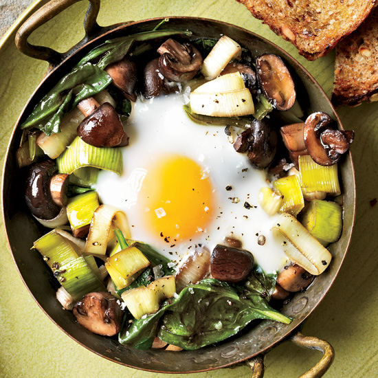 Eggs Baked Over Sautéed Mushrooms and Spinach