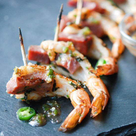 9 grilled shrimp skewers for quick and easy summer dinners food wine hd 201209 r zimmern shrimp ham apple jelly forumfinder Gallery