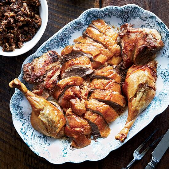 roast goose with pork prune and chestnut stuffing