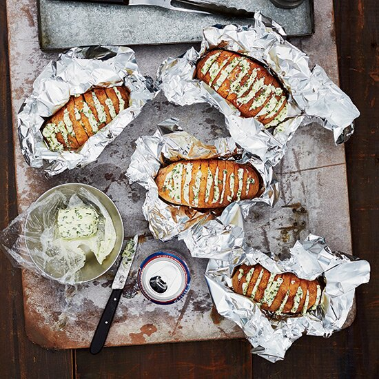 Grilling side dishes food wine grill baked potatoes with chive butter forumfinder Images