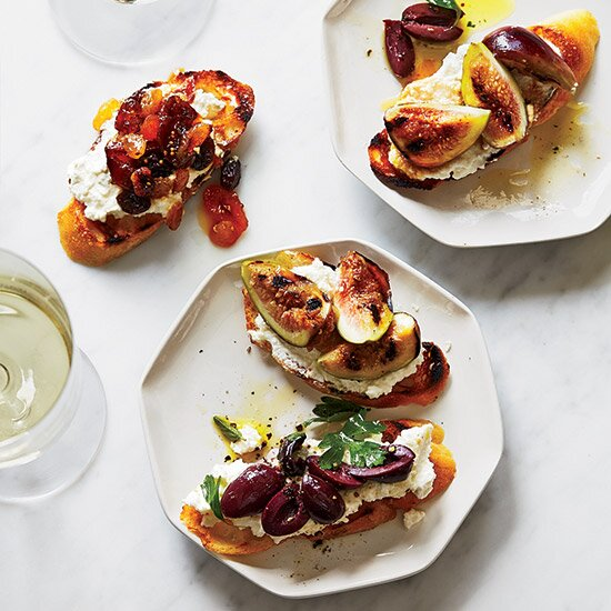 Kentucky derby party ideas food wine ricotta crostini with three toppings forumfinder Gallery