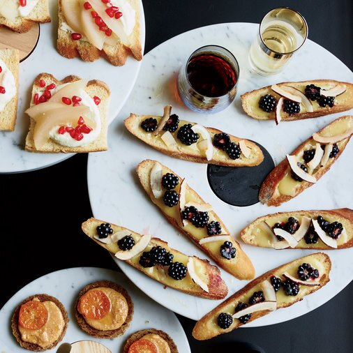 Host a fabulous wine party with these appetizers food wine lemon curd toasts with coconut forumfinder Choice Image
