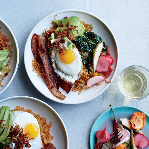 Bacon Fried Rice with Avocado and Fried Eggs