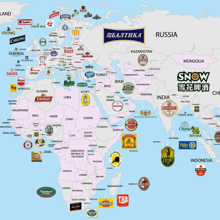 The beer globe which breweries dominate all over the world food fwx favorite beers around the world map cropped in gumiabroncs Choice Image