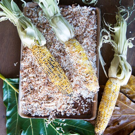 Grilled Corn With Jerk Mayo And Coconut Recipe Adam Schop Food