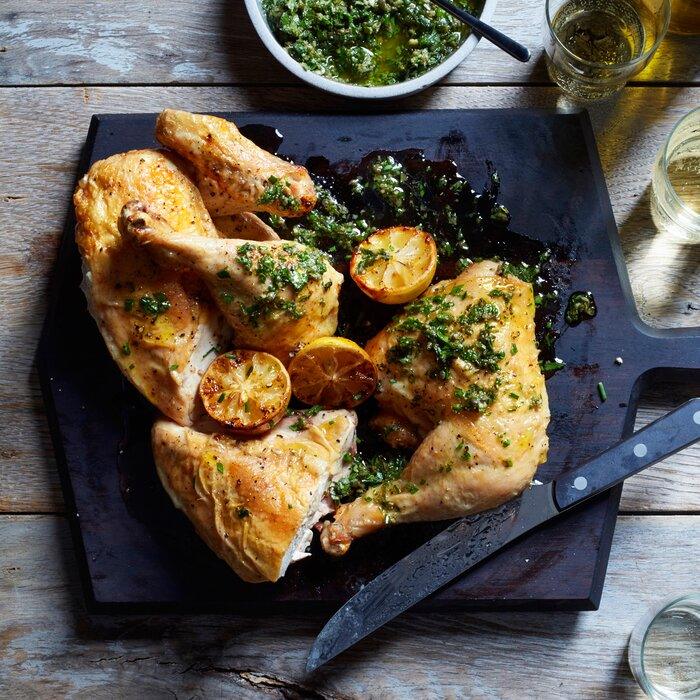 New york is in the midst of a roast chicken renaissance food wine roast chicken with salsa verde and roasted lemons forumfinder Choice Image