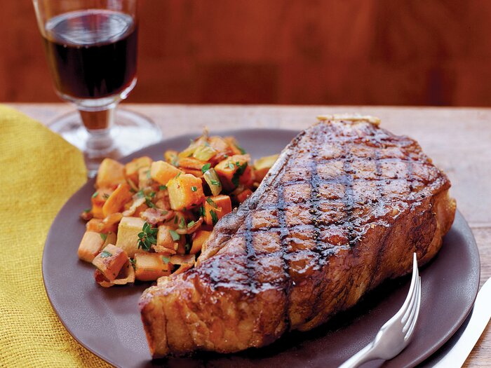 Grilled strip steaks with sweet potato hash browns recipe frank fw200701stripsteakg forumfinder Choice Image