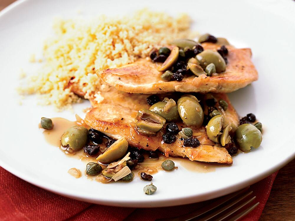 Chicken cutlets with green olive and currant pan sauce recipe chicken cutlets with green olive and currant pan sauce recipe melissa rubel jacobson food wine forumfinder Choice Image