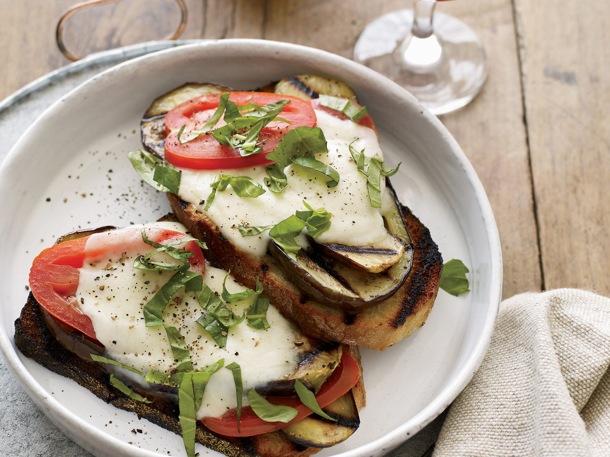 Image result for tomato aubergine open sandwich