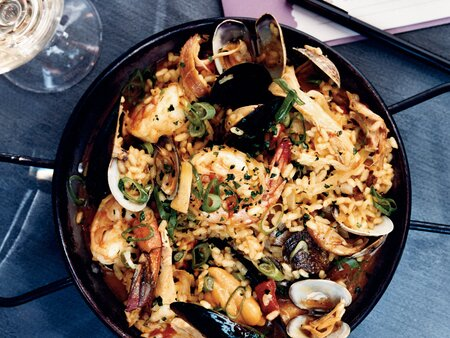 Seafood And Chicken Paella With Chorizo Recipe Tamara Murphy