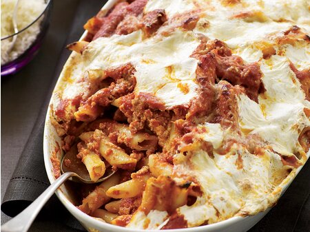 Baked Penne With Sausage And Creamy Ricotta Recipe Maria Helm