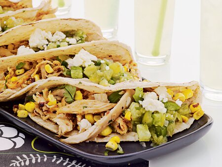 Pulled Chicken Grilled Corn Tacos