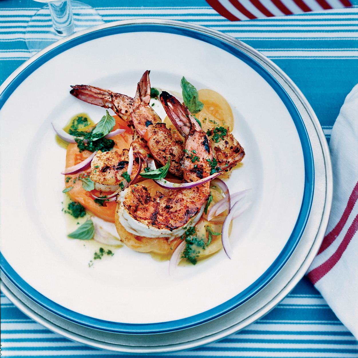 Barbecued Spiced Shrimp With Tomato Salad Recipe Bobby Flay Food