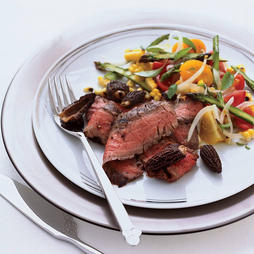 grilled flank steak with corn tomato and asparagus salad recipe
